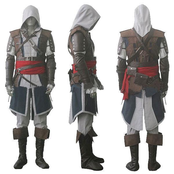 Assassin's Creed IV 4 Black Flag Edward Kenway Cosplay Costume Whole Set Custom Made Express Shipping
