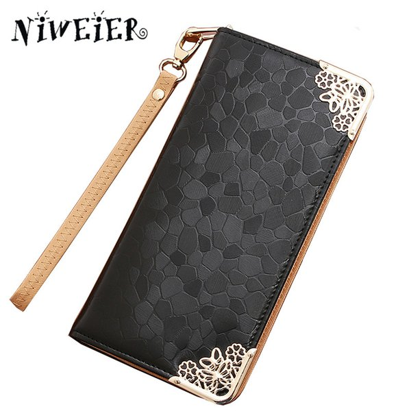 2017 Fashion Glossy Women Wallet Hardware Decoration Zipper Clutch Purse Wrist Large Capacity Coin Phone Card Key Bag For Female