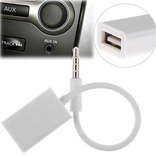 Venta al por mayor- Conector macho de audio AUX confiable de 3,5 mm para cable de convertidor de cable USB 2.0 hembra Cable MP3