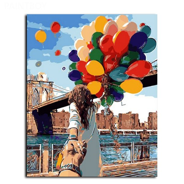 Framed The Street Balloon Figure painting Modern Abstract Handpainted & HD Art Printed on High Quality Canvas Home Wall Decor Multiple Size