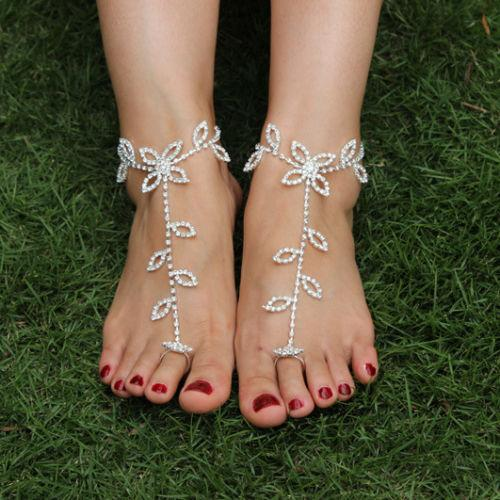 2PC Shiny Rhinestone Crystal Barefoot Sandals Bridal Anklet Beach Foot Jewelry