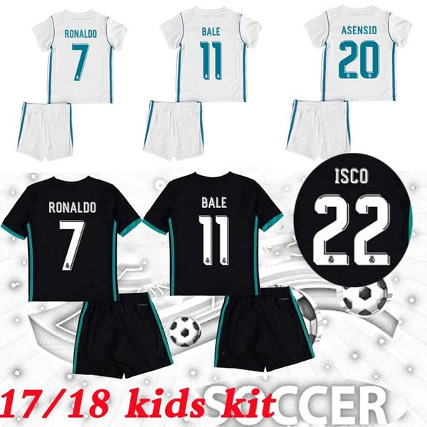sports shoes 721f5 51e86 2019 2017/2018 Kids Real Madrid Kits Soccer Jerseys New Font 17/18 RONALDO  Black ASENSIO BALE RAMOS ISCO MODRIC Football Shirt Thailand Quality From  ...