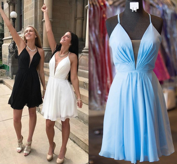 Cheap Short Homecoming Dresses Spaghetti Straps Ruched Chiffon Criss Cross Back Black White Blue Backless Prom Dresses Simple Party Dresses