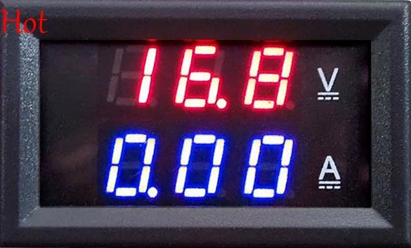 """DC 0-100V 10A Digital Voltmeter Ammeter Dual Display Voltage Detector Digital Current Meter Panel Amp Volt Gauge 0.28"""" Red Blue LED TK1382"""