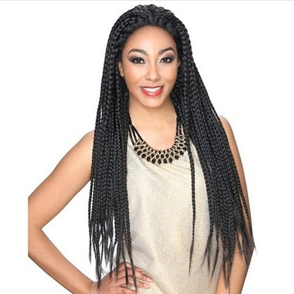 Full Hand Tied Long Black Color Glueless Box Braided Lace Front Hair Wigs Twist Braided Heat Resistant for African American free shipping