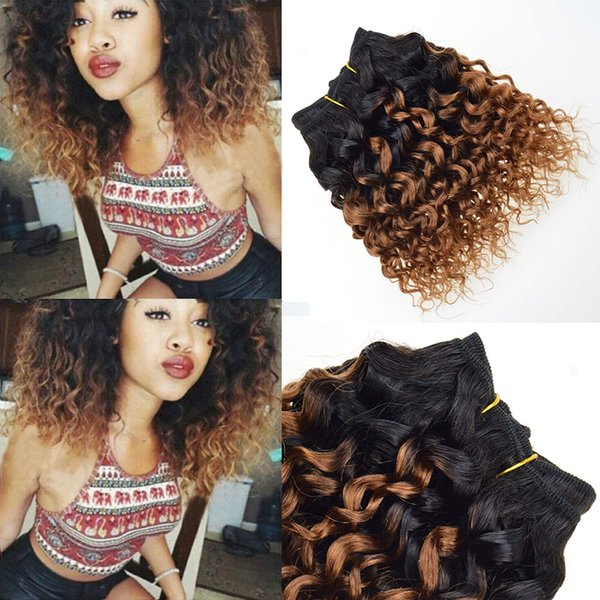 Barroko 7a Curly Weave Brazilian Hair Bundles Kinky Curly Human Hair Extensions Two Tone T1B/30# ombre Weave Hair Products