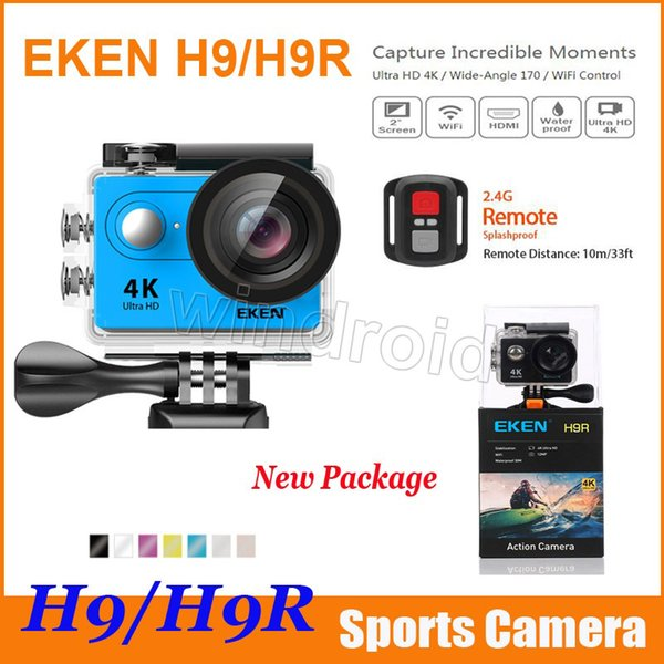 top popular Action camera Original EKEN H9 H9R with remote control Ultra HD 4K WiFi HDMI 1080P 2.0 LCD 170D pro Sports camera waterproof with retail box 2020