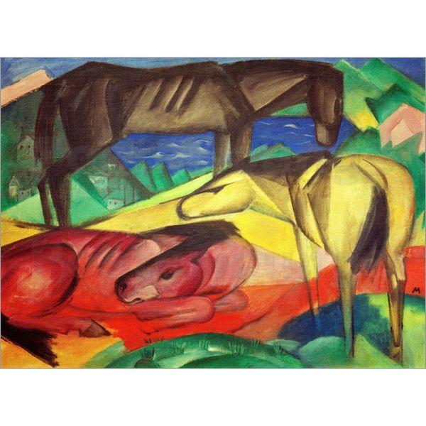 Arte moderna abstrata Três Cavalos por Franz Marc reprodução da pintura a óleo de alta qualidade pintados à mão