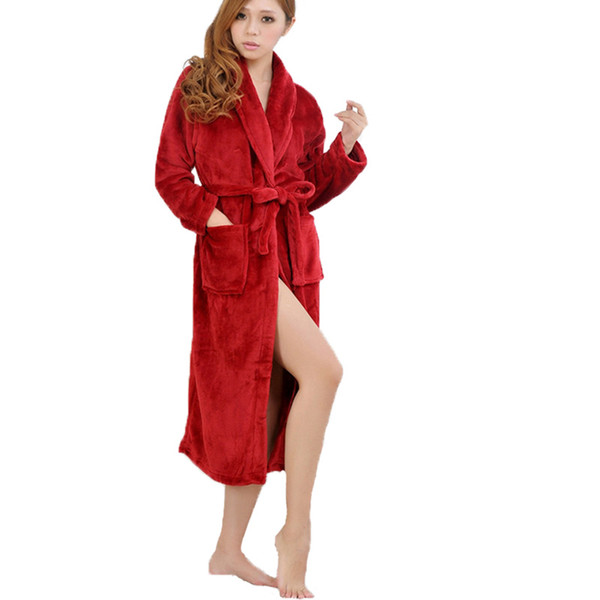 02edeb53e4 Wholesale- Bath Robe Unisex Bathrobe Winter Robe Loose Long Sleeves Coral  Fleece Bathrobes Spa Shawl Pajama Nightdress Sleep Dress SV000951