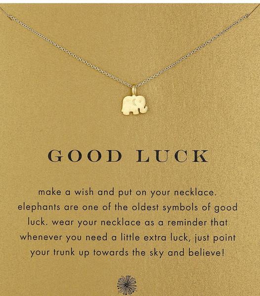 Com cartão! Cor de prata e ouro bonito Dogeared Colar com pingente de elefante (boa sorte elefante), sem desbotar, frete grátis e alta qualidade.