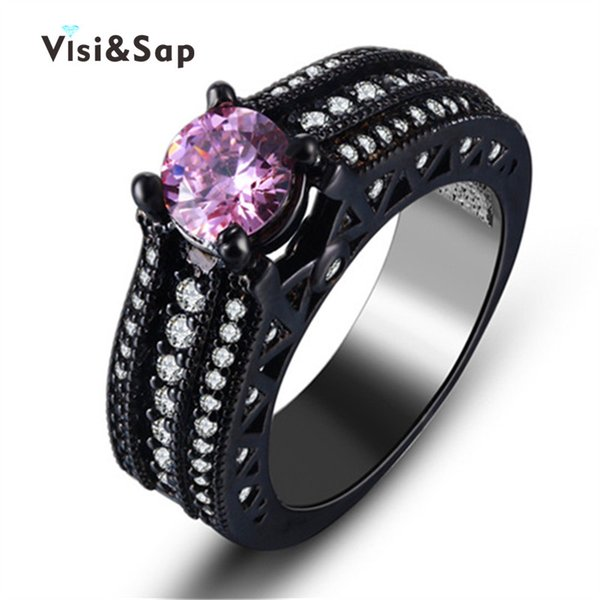 Visisap Wedding bands black gold color rings purple stone cubic zircon Rings For women engagement fashion jewelry VSR245