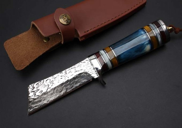 Promotion Damascus Steel Survival Straight Knife 60HRC Bone Handle Outdoor Camping Hunting Fixed Blade Knives with Leather Sheath