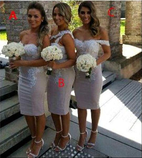 Bainha Curto Vestidos Dama de Honra com Rendas Top 2017 Nova Moda Tea-Comprimento de Dama de Honra Vestidos Formais Vestidos de Convidados Do Casamento Personalizado