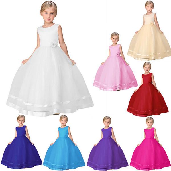 kleines Mädchen Festzug Kleider Prinzessin Kleid Kinder Baby Blume Mädchen Party Pailletten Kleid Hochzeit Brautjungfer rotes Kleid Baby Mädchen Kleidung