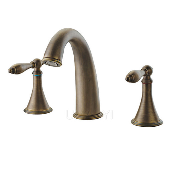 Wholesale and Retail Bathroom Basin Faucets Antique Brass Brushed Bronze 2 Handle Deck Mounted Hot Cold Mixer Toilet Sink Taps ABMPL007-1