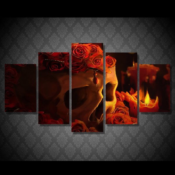 New 5 pcs/set Red Roses Skull Paintings on Canvas Modern Wall Art Print Poster Picture For Home decor Unframed