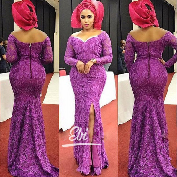 Purple Long Sleeves Prom Dresses Sexy Off Shoulder Side Split Mermaid Lace Evening Dresses Charming Party Gowns Special Occasion Dresses