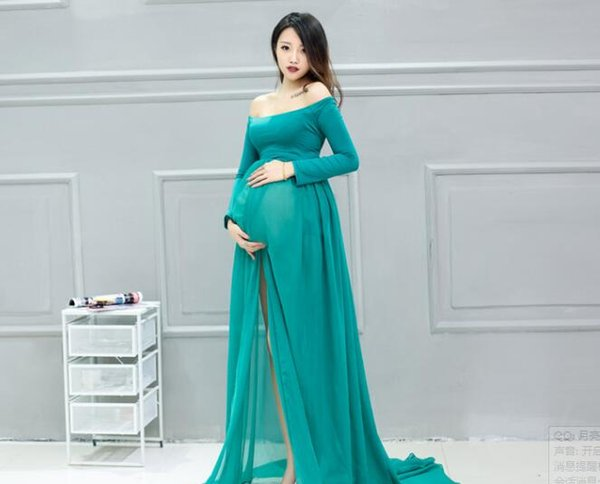 2017Maternity Photo Shooting Dresses Slash Neck short Sleeve Maternity Maxi Dress Open in Front Pregnant Clothes Dress Large Si