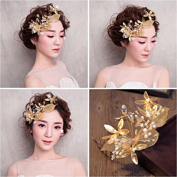 Woman headdress hair Your wedding the bride wedding dress lomen golden Headband Tiara jewelry 1560002