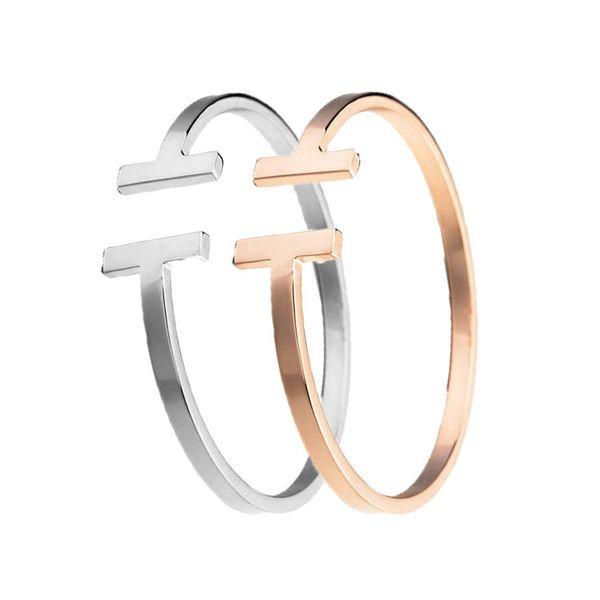 Top Qualité En Acier Inoxydable De Mode Bijoux C Maille Manchette Bracelets Bracelets Double T En Forme de Bracelets Pour Femmes