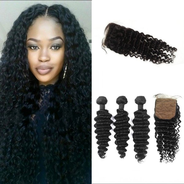 Malaysian Hair Bundles with Deep Wave Closures 4x4 Silk Based Closure with 3 Bundles Virgin Human Hair Extensions FDSHINE