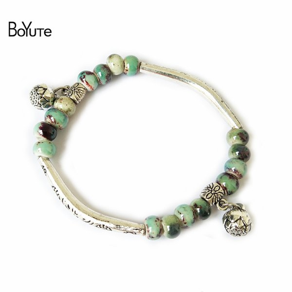 BoYuTe 5Pcs Vintage Antique Silver Plated Ceramic Bead Women Bracelet Hand knitting Rope Chain Christmas Charm Bracelets Gifts