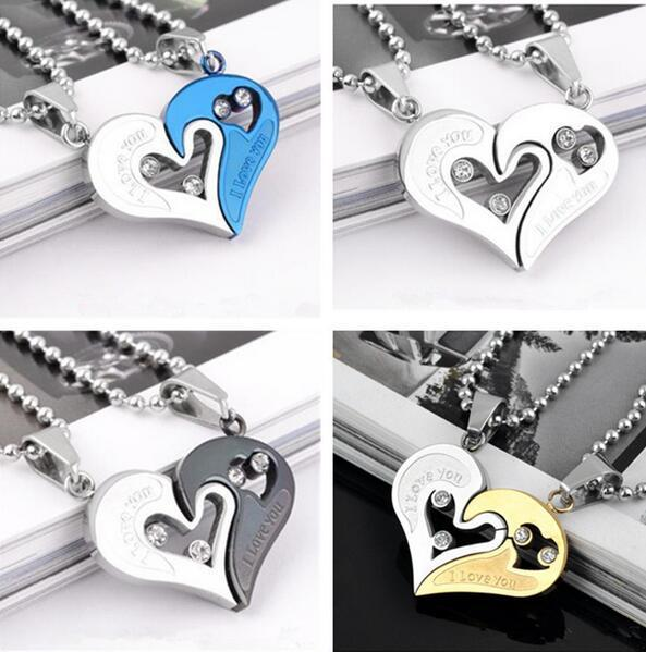 Couple I Love You Heart Shape Lover Titanium Steel Pendant Necklace Chain Jewelry Gift for Women Men Xmas Brithday Fashion Gift Decor
