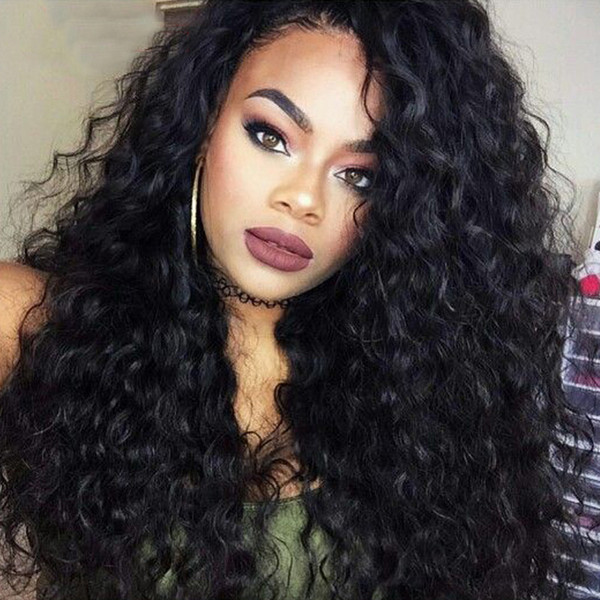Cheap Long Kinky Curly Full Lace Wig Virgin Mongolian Lace Front Wig Kinky Curly Human Hair Wigs For Black Women