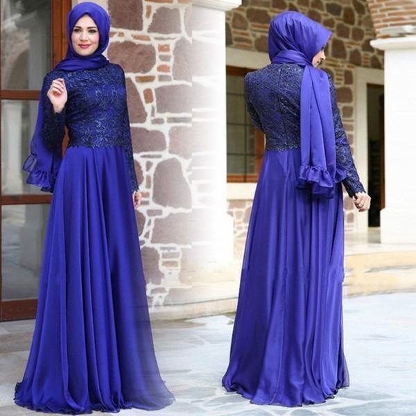 Elegante Muçulmano Vestidos de Noite de Alta Neck Lace Mangas Compridas Elegante A Linha Saudi Vestido de Baile Vestidos de Festa Vestidos