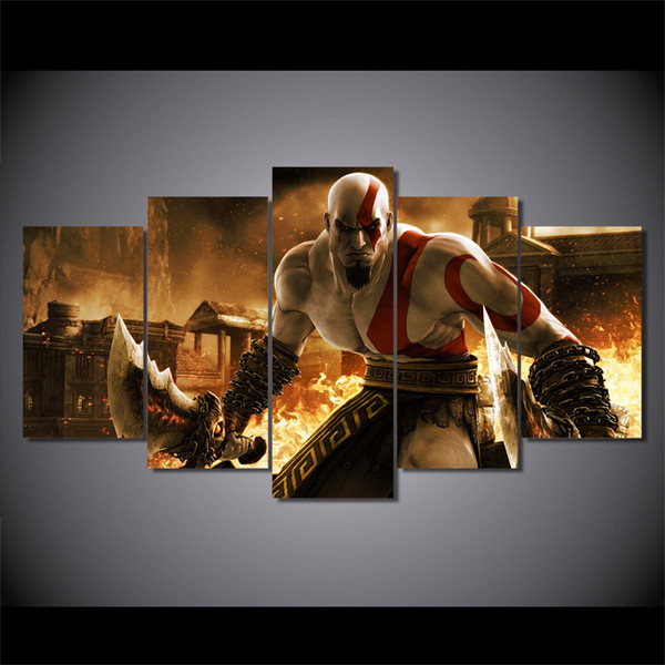 5 Pcs/Set Framed HD Printed god of war ascension kratos Painting on canvas room decoration print poster picture canvas Free shipping/ny-2376