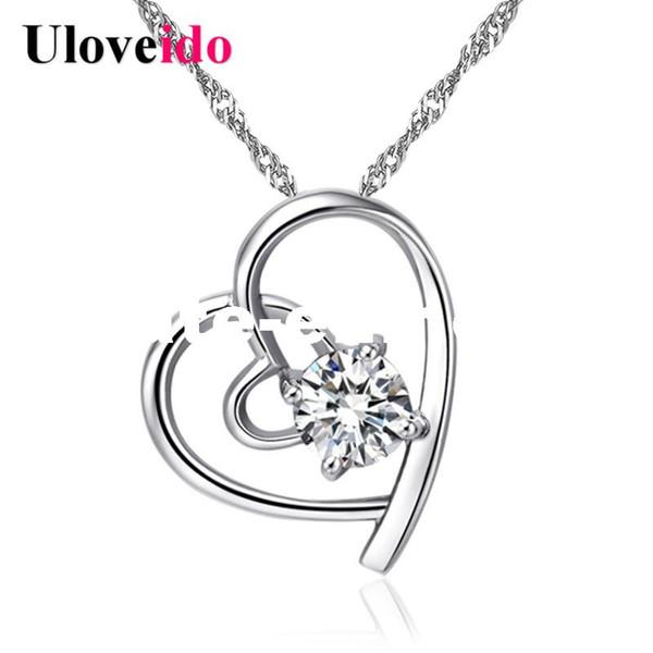 dhgate 15% Off Heart Necklaces & Pendants Women's Wedding Silver Color Jewellery Necklace Purple Cubic Zirconia Pendant N296