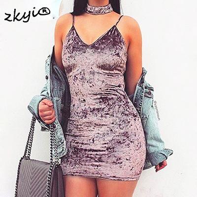 Vintage Samt Halter Bodycon sexy Kleid tiefem V-Ausschnitt backless kurzes Kleid 2017 elegante Party Club Frauen Kleid Vestidos