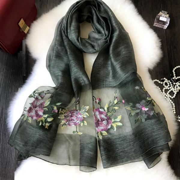 2019 women fashion cotton silk scarf shawl collar girl wind peony embroidery free shipping in China