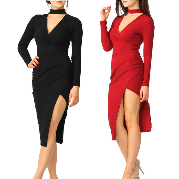 2017 Sexy Mini Slim Office Bodycon Pencil Dress Women Long Sleeve Bandage Choker Wrap Over Asymmetric Dress Solid Robes Vestidos