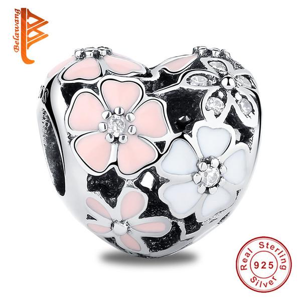 BELAWANG 925 Ayar Gümüş Boncuk Charms Bahar Emaye Şiirsel Blooms Çiçek Charm Fit Pandora Charm Bilezik DIY Takı Moda Kız Için