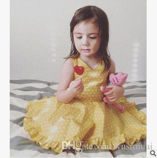Summer girls white dot lace vest dresses sleeveless cotton mini skirt kids one-piece princess dresses Children's clothes baby Girl&#039
