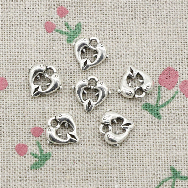 166pcs Charms double dolphin 11*11mm Antique Silver Pendant Zinc Alloy Jewelry DIY Hand Made Bracelet Necklace Fitting