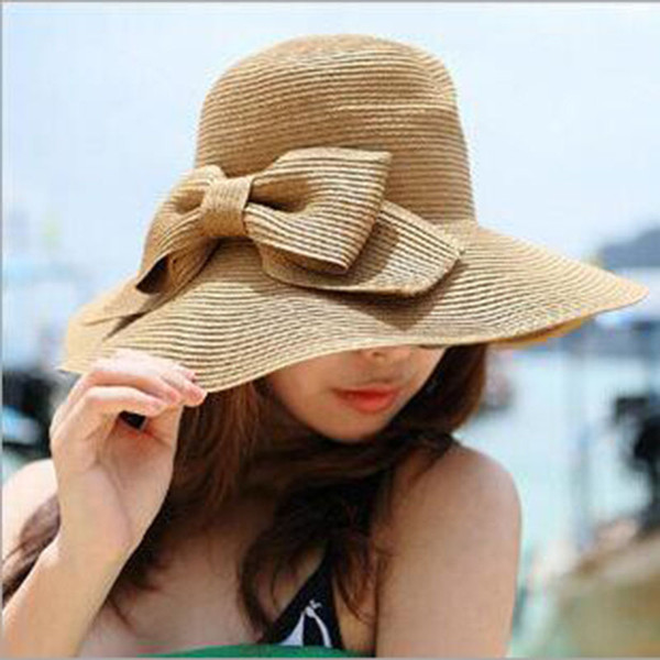 Wholesale- Hot Sale Women's Sun Hats for Beach Summer Holiday,Hats Female for summer,Women Summer Hats for Casual Dresses,lady straw hats