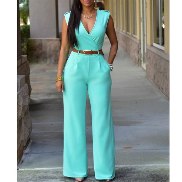 Gros-Mode Grandes Femmes Sans Manches Maxi Salopettes Belted Leg Leg Combinaison 8 Couleurs S-XXL Long Pantalon