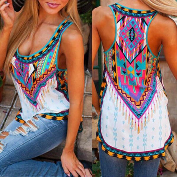 Wholesale-2016 Summer Women Casual Chiffon Sleeveless O-neck Tank Tee Tops Print T shirt Blusas Female Bohemian Vintage Camisetas Mujer