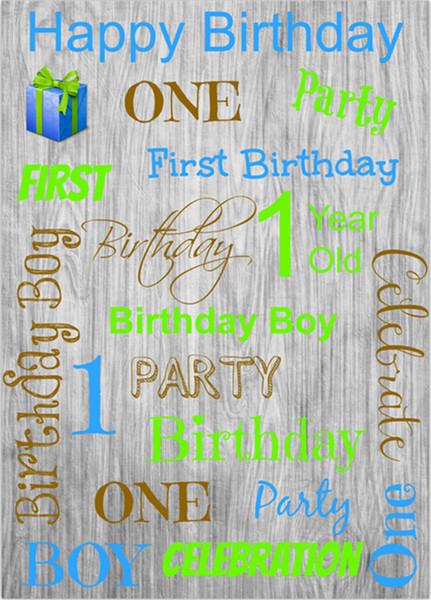 La prima festa di compleanno di un bambino in legno vintage Fondali di un anno La celebrazione di uno studio fotografico in Background 5x7ft