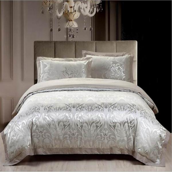 Wholesale- 4pcs jacquard mulberry silk cotton bedclothes bedding sets queen king size Quilt duvet cover set bedsheets cotton bedcover