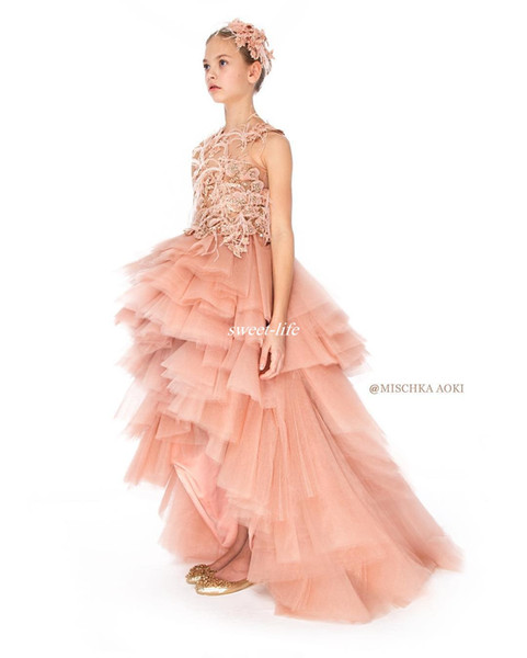 Blush High Low Flower Girl Dresses Ball Gown Puffy Tulle Pearls Feather 2017 Lovely Lace Girls Pageant Dress Gowns for Kids Birthday Party