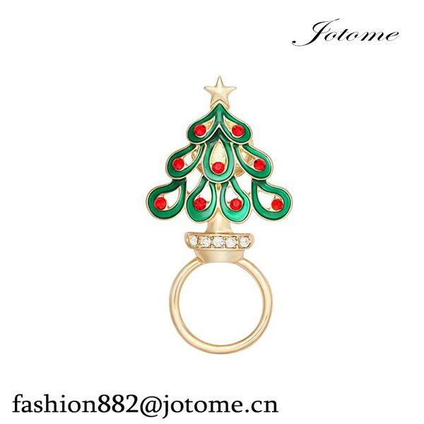100pcs/lot 2017 China Wholesale Enamel Rhinestone Christmas Tree Clip Eyeglass Holder Holiday Brooch Pin Christmas Gifts