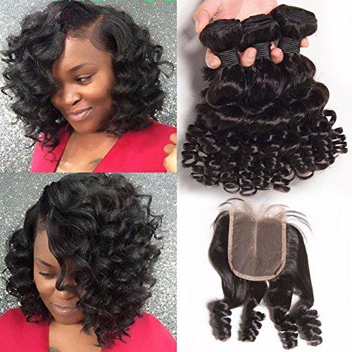 Unprocessed Peruvian Funmi Hair With Closure Bouncy Curls 4Pcs Lot 9A Aunty Funmi Hair 3 Bundles With Three 3 Way Part Lace Closure