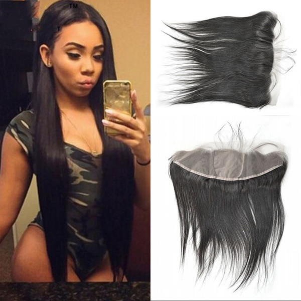 Mongolian Human Hair Straight Silk Base Frontal with Baby Hair Top Quality Natural Color Virgin Hair Fast Shipping