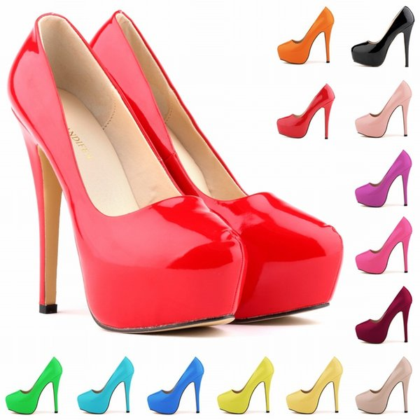 New Fashion 13 Colors Sapato Feminino Womens Platform Pumps For Fountains High Heels Stiletto Court Shoes Size US 4-11 D0030