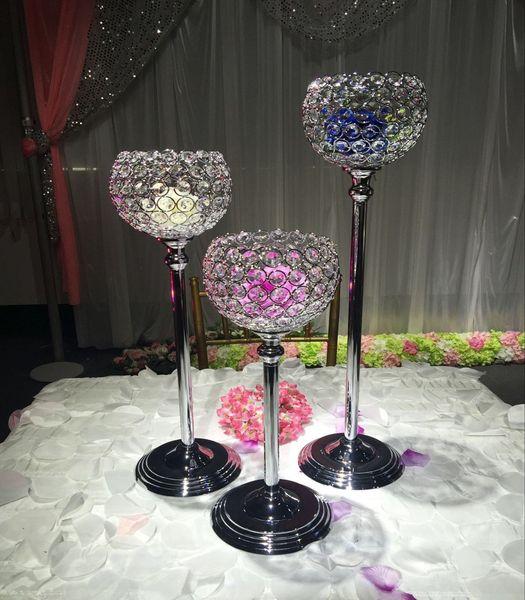 3pcs/set 15cm diameter crystal ball candle holder wedding centerpiece decoration candlestick silver plated