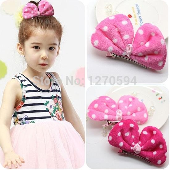 Girls Bunny Ear Dot Hair Clips Rose Red and Pink Bow Hairpins High Quality Fabric Side Hair Grips Cute Design for Baby Hair Wear