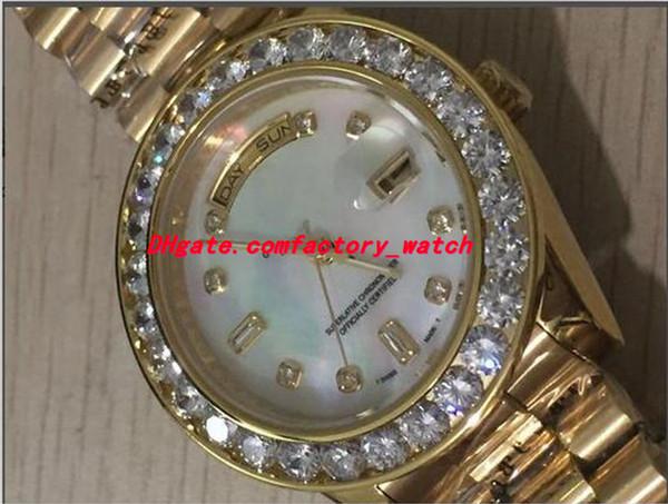 Orologi di lusso da uomo di alta qualità 36mm oro bianco 18 carati MOP quadrante con diamante più grande castone 2Y automatico orologio da polso da uomo
